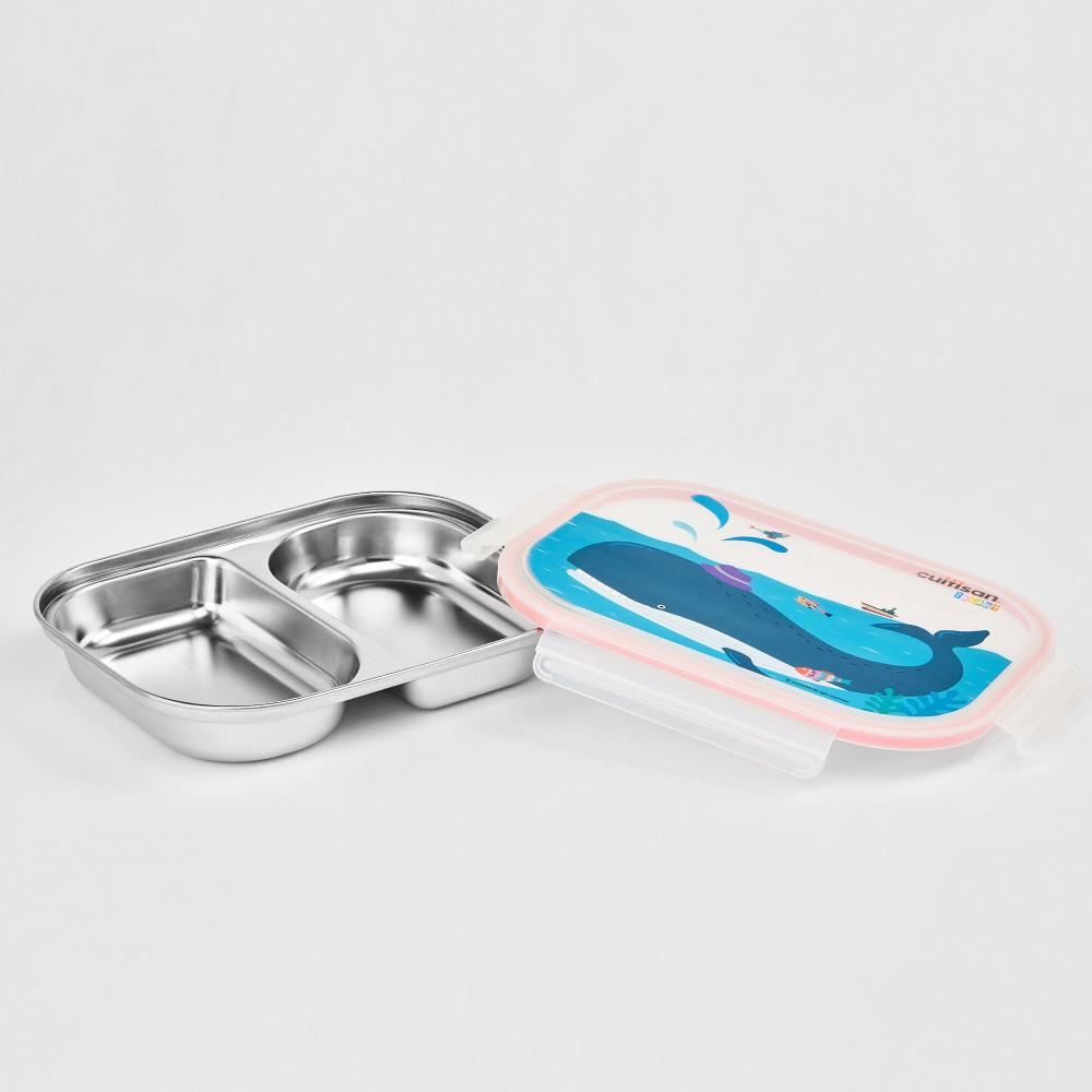 限時特價【Cuitisan酷藝師】316可微波不鏽鋼(適用5-13歲) 酷夢系列-小鯨兩格餐盤
