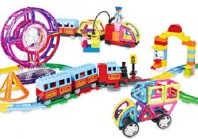 170片GINIMAG 磁性建構片 積木 益智玩具 磁鐵玩具 (Magformers相容)火車組